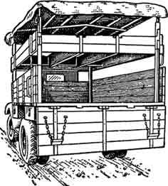 Рис. 9. Общий вид машины, оборудованной для перевозки трёх лошадей.